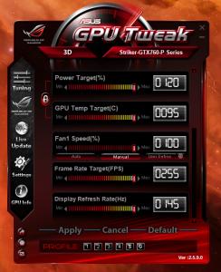 STRIKER GTX 760 Maximum Adjustment Parameters 2