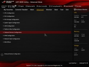 ASUS ROG Z97 MAXIMUS UEFI - Advanced - On board Devices Configuration - PCI Express x4_3 Slot (Black) Bandwidth