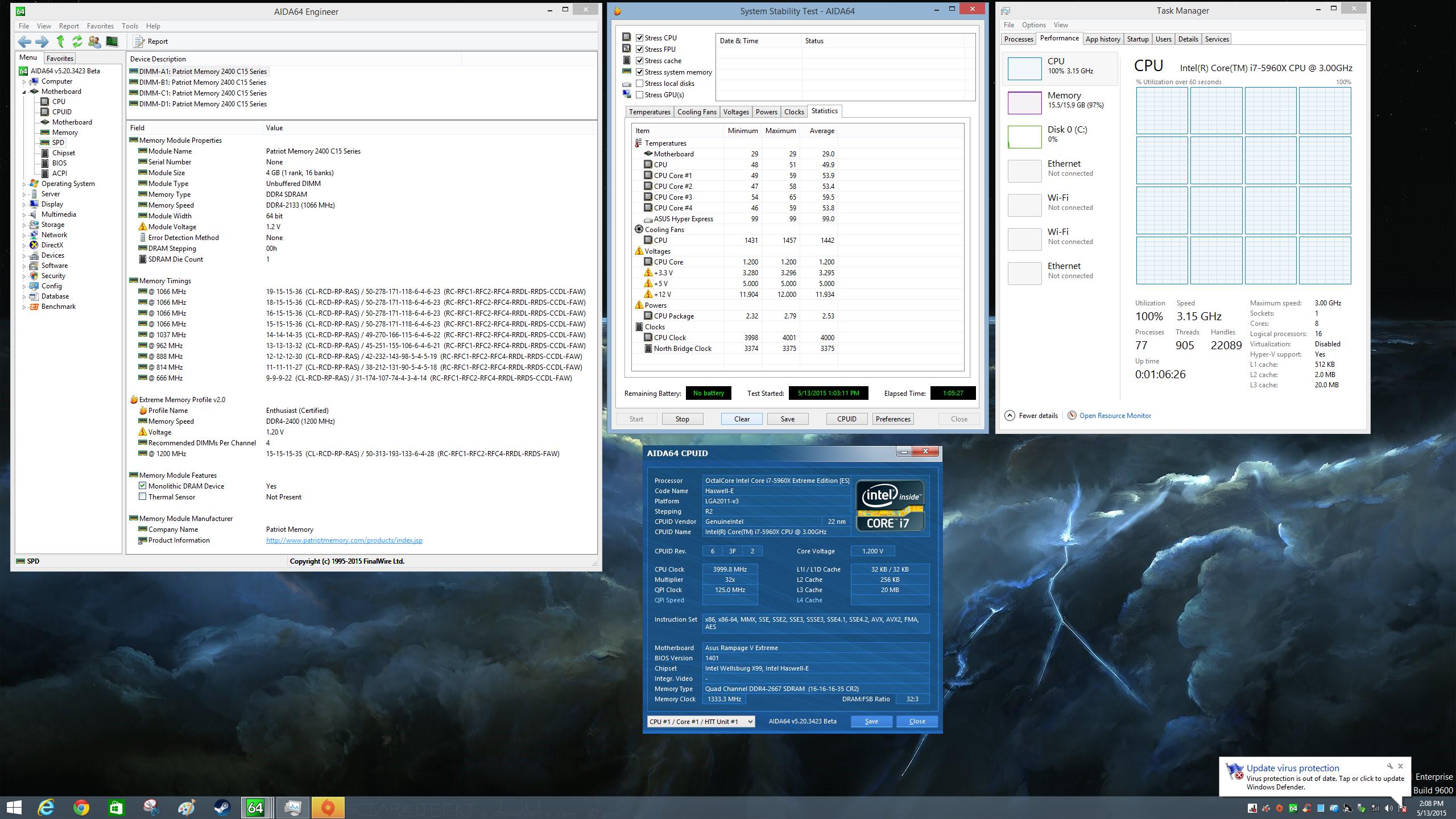 Patriot VIPER 4 DDR4 2666MHz Aida64 Stress Test Stable 1