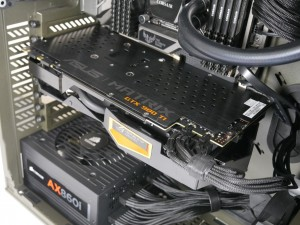 MATRIX GTX 980 Ti installed in system top view down angle