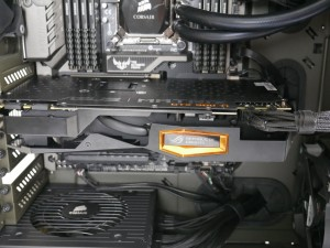 MATRIX GTX 980 Ti installed in system top side angle