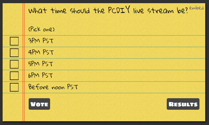 What time should the PCDIY live stream be?