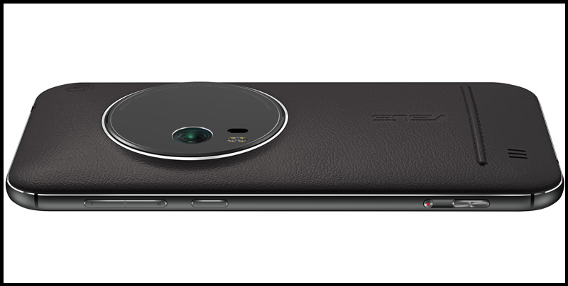 The side of the ZenFone Zoom features a volume rocker/zoom toggle, power button, and dedicated record and shutter buttons