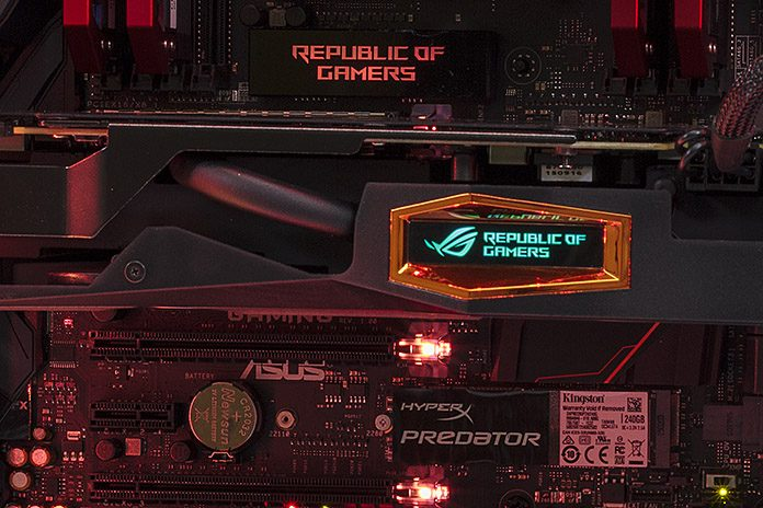 The ROG Strix X99 Gaming motherboard illuminates a Broadwell