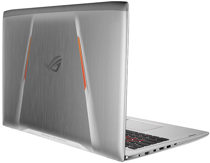 Brushed metal on the ROG Strix GL502's back