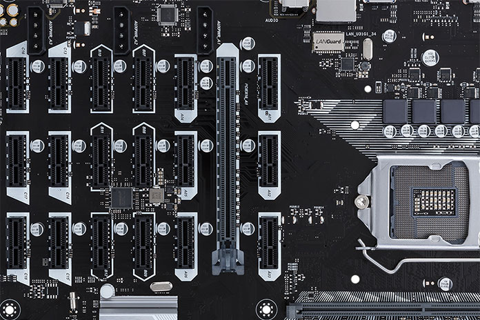 The ASUS B250 Mining Expert motherboard boasts 19 PCIe slots for