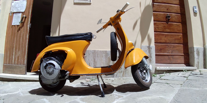 Yellow scooter wide